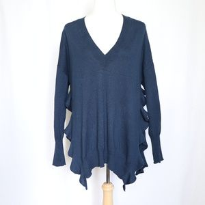 Moth Anthropologie Blue Ruffle Side V-Neck Sweater